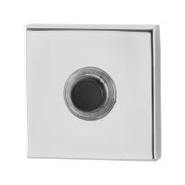 Türklingel mit schwarzer Druckknopf GPF9826.42 GPF9826.42 quadratisch 50x50x8 mm Edelstahl poliert