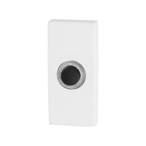 Türklingel mit schwarzer Druckknopf GPF8826.41 rechteckig 70x32x10mm weiß