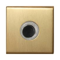 Türklingel mit schwarzer Druckknopf GPF9826.02P4 quadratisch 50x50x8 mm PVD Messing Satin